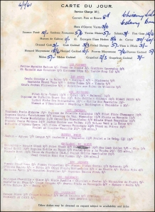 Menu from 4th November 1961.